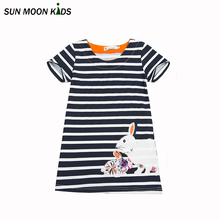 Sun Moon Kids Dresses for girls Cotton Girls Dress Stripe Cute Little Rabbit 1-6Years Casual Baby Girl Summer Clothes