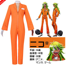 [Stock] Anime Nanbaka NO.25 Niko Rock Jail Uniform cosplay Orange Bodysuit +Glove Prisoner cosplay costume New free ship 2017