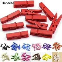 Haodeba 20pcs Mini Colored Spring Wood Clips Clothes Photo Paper Peg Pin Clothespin Craft Clips Party Decoration