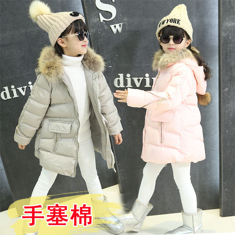 2017 winter coat girl girls hand padded cotton padded jacket thick fur collar plug children hooded long coat tideÎäåæäà è àêñåññóàðû<br><br>