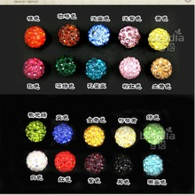 12mm/14mm/16mm/18mm/20MM 5~10pcs High quality Round chunky fashion Resin rhinestone loose spacer beads for DIY Jewelry Hole :2mm
