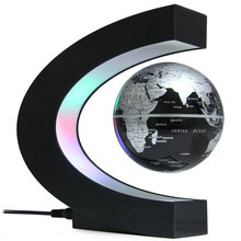 Creative C Shape Magnetic Levitation Floating Globe Rotating Magnetic World Map Colorful LED Lamp Decoration Novelty Gifts