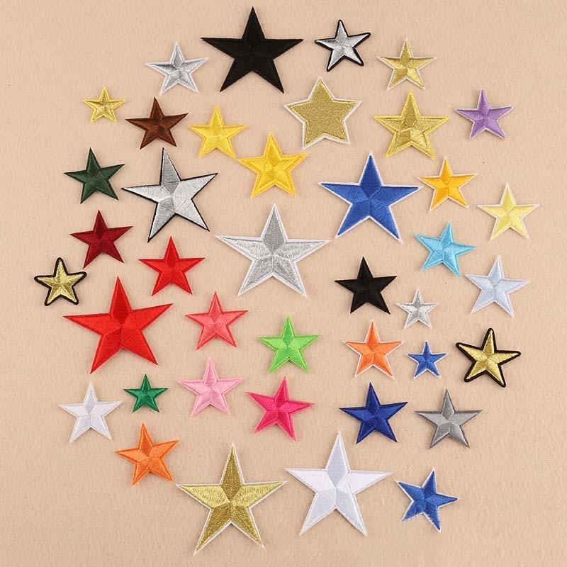 10PCS Rouge Pentagramme Ruban Satin Appliques Handmade double couche en tissu fleurs