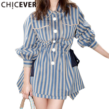 [CHCIEVER] Lantern Sleeve Striped Long Shirt Dress Spring 2017 Loose Turn Down Collar Party Dresses Women New Fashion Clothing
