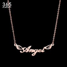 Luxury Rose Gold Stainless Steel Angel Pendant Necklace For Women Rose Trendy Letter Chain Necklaces Wedding Gift