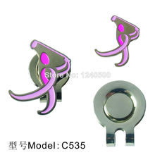 Free Shipping Brand New Lady Swing Golf Ball Marker with Hat Clip, Golf Accessories, Wholesale Price