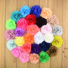 "50pcs/lot 3.15"" Chiffon Fabric Rosette Flowers Boutique DIY Blossom Hair Bows Craft Flower Without Clips Girls Hair Accessories(China)"