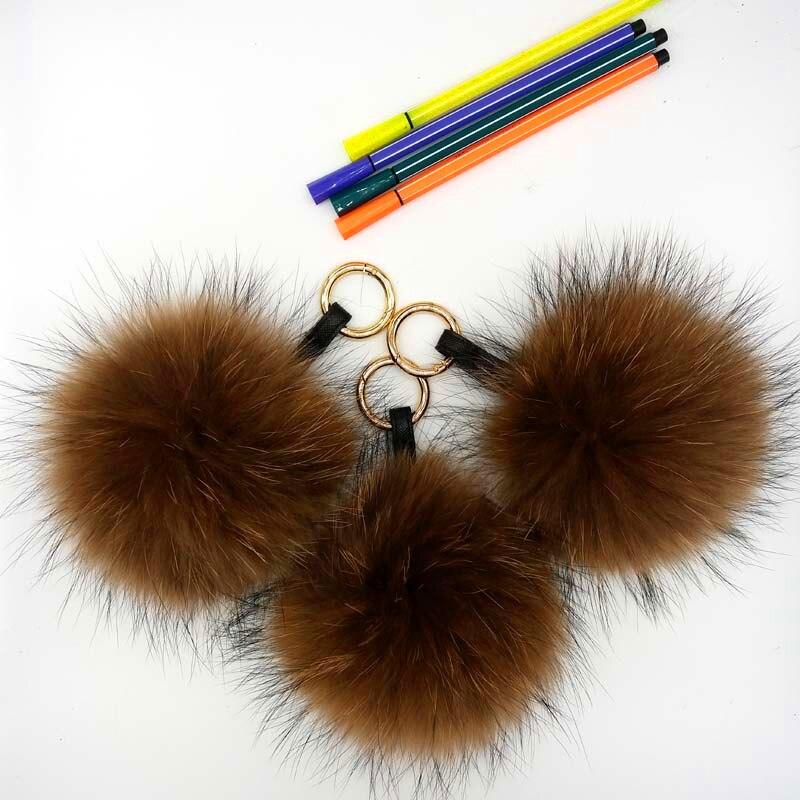 raccoon fur pompom brown 3
