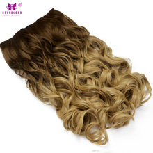 Neverland 24inch 60cm Wavy Synthetic Hair Clip in Hair Extensions Heat Resistant Hairpiece Chocolate Brown to Sandy Blonde Wigs