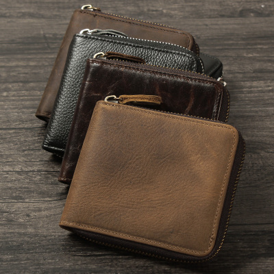 New Hot Sale Cattle Men male Vintage crazy horse Genuine Real leather Horizontal Credit Card Cash Zipper Around Wallet Purse<br><br>Aliexpress