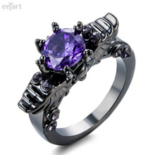 eejart   New Black Gold Filled Ring Sets Vintage Skull Shaped Ring purple  Fashion ring For Women