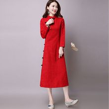 Buy 2017 Chinese style Autumn Fashion Women Clothing Vintage Mandarin Collar Long-sleeved Cheongsam Loose Big yards Long Dress NZ271 for $27.44 in AliExpress store