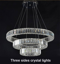 High-end crystal lustres Villa living room long crystal ring diamond three sides hotel industrial lustre pendant lights