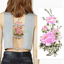 Waterproof Temporary Tattoo Sticker Chinese peony flower women's body art tatto stickers flash tatoo fake tattoos for girl