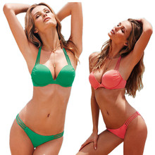 2017 new Wild sexy bikini simple swim suit split swimsuit Gather bra type Two-piece women's swimsuit Push Up Bikini