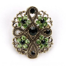 Antique Color Crystal Diamante Vintage Flower Brooch Pins for Women
