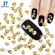 4*5mm Glitter  Shell Design 3D Copper Nail Art Decoration Gold Silver 2 Colors Charms Rivet Studs For Nails PJ460 PJ461