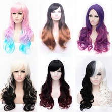 New hot high quality  long wavy womens 9ombre colors synthetic hair wig,korean rose hairnet kanekalon fibre peruca wig