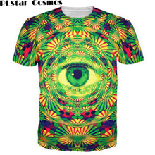 PLstar Cosmos Psychedelic Eye T-Shirt trippy pattern leads to an all-seeing eye vibrant design t shirt Women Men tees Summer