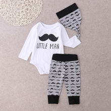 Newborn Infant Baby Boys Tops Letter Little Man Romper + Long Pants Legging Playsuit Baby Boy Clothes Outfit Set 3pcs(China)