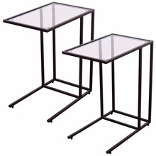 2PCS Coffee Tray Side Sofa End Table Ottoman Couch Stand TV Lap W/Glass Top  2*HW54104