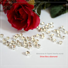 SS12-SS40(3mm-7mm) glass stones Claw Rhinestones silver base clear crystal sew on rhinestones claw in DIY garment