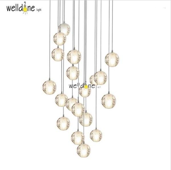 Modern crystal pendent lights fixture DIY magic globe ball lamp loft master shower LED light with bubbles for restaurant <br>
