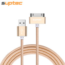 SUPTEC USB Cable for iPhone 4 4s iPad 2 3 iPod 30 Pin Metal Plug Charger Cable for iPhone 4 Nylon Wire Charging Data Cable Cord(China)