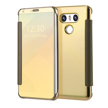 For LG G6 Case Electroplating Mirror cover sFor LG G6 G 6 caso Smart Flip Slim View Hard Clear Transparent phone Cases(China)