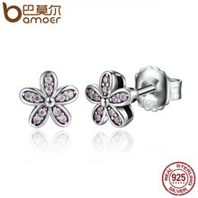 BAMOER Authentic 925 Sterling Silver Light Pink Vivid Daisy Flower Stud Earrings Women Fashion Jewelry Christmas Gift SCE031-1L(China)