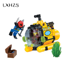 Pirate Series Treasure Hunt Small Submarine Adventure Building Blocks Bricks Educational Toys Gift