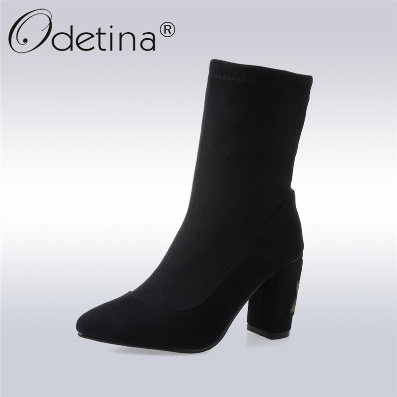 Odetina New Fashion Black Suede Ankle Boots Women High Square Heel Floral Flower Embroider Boots Autumn Winter Shoes Big Size 46<br>