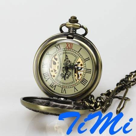 Retro Bronze Wood Mechanical Skeleton Pocket Watch<br><br>Aliexpress