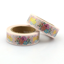 NEW 15mm*10M Flowered Foil Washi Tape Garden- High Quality Paper Adhesive Tape Golden Floral Sticky Paper Tape Masking Tape(China)
