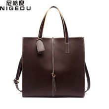 Vintage women handbags Large Capacity PU leather Women's shoulder messenger bag brown Ladies Office Totes Big bolsa franja