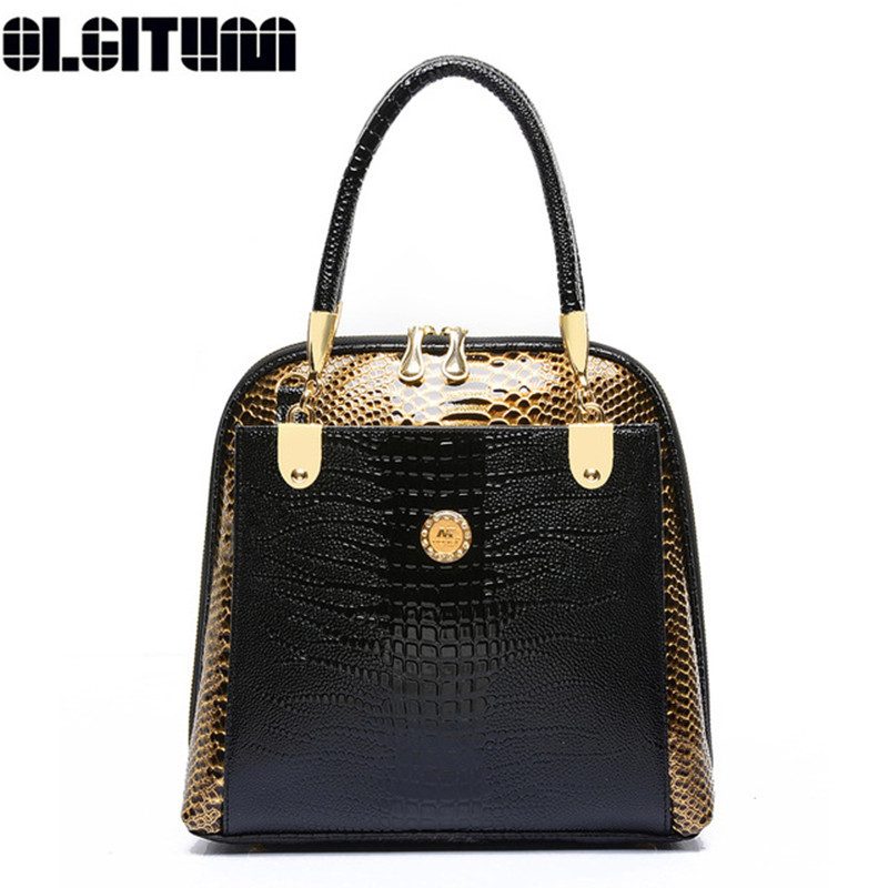 OLGITUM 2017 Hot Sale Embossed Handbag Crocodile Pattern  Tote Bag Ladies Handbags New Fashion Womens Shell Bag HB018<br>