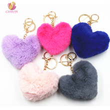 GHRQX NEW Lovely Heart Shaped Pom Poms Imitation Rabbit Fur Ball Toy Doll Bag Car Key Ring Monster Keychain Jewelry Gift(China)