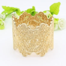 Vintage Arab Women Bracelet Armlet Wave Edge Plus Size Bangle Open Type Hollow Flower Gold Color Cuff Bangles Dance Jewelry(China)
