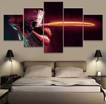 Modern On The Wall Art Modular Pictures 5 Panel Colorful Face For Living Room Home Decoration Abstract Painting On Canvas(China)