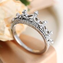 Womens Hollow Queen Crown Rhinestone Silver Plated Ring Wedding Jewelry Ring ATG7