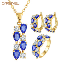 CARSINEL Gold-color Wedding Jewelry Sets with AAA Blue Cubic Zircon Necklace/Earrings for Women High Quality Bridal Jewelry(China)