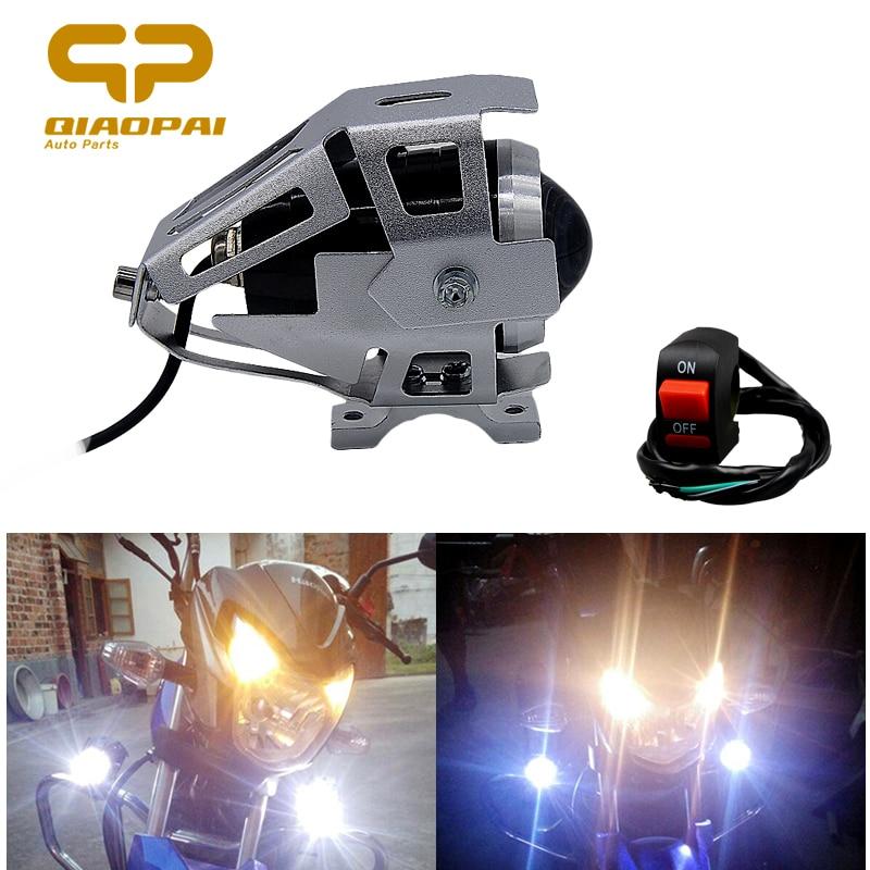 2 pcs U5 Motorcycle Light Aluminum Spotlight Headlight Universal Waterproof External U5 LED Refit Spotlight Switch Fog Lamp<br>