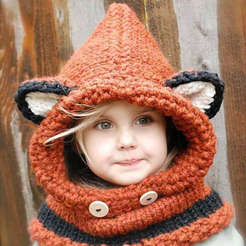 Lovely fox ear winter windproof hats scarf set for kids crochet headgear soft warm orange hat baby winter beanies [HUBK008]Одежда и ак�е��уары<br><br><br>Aliexpress