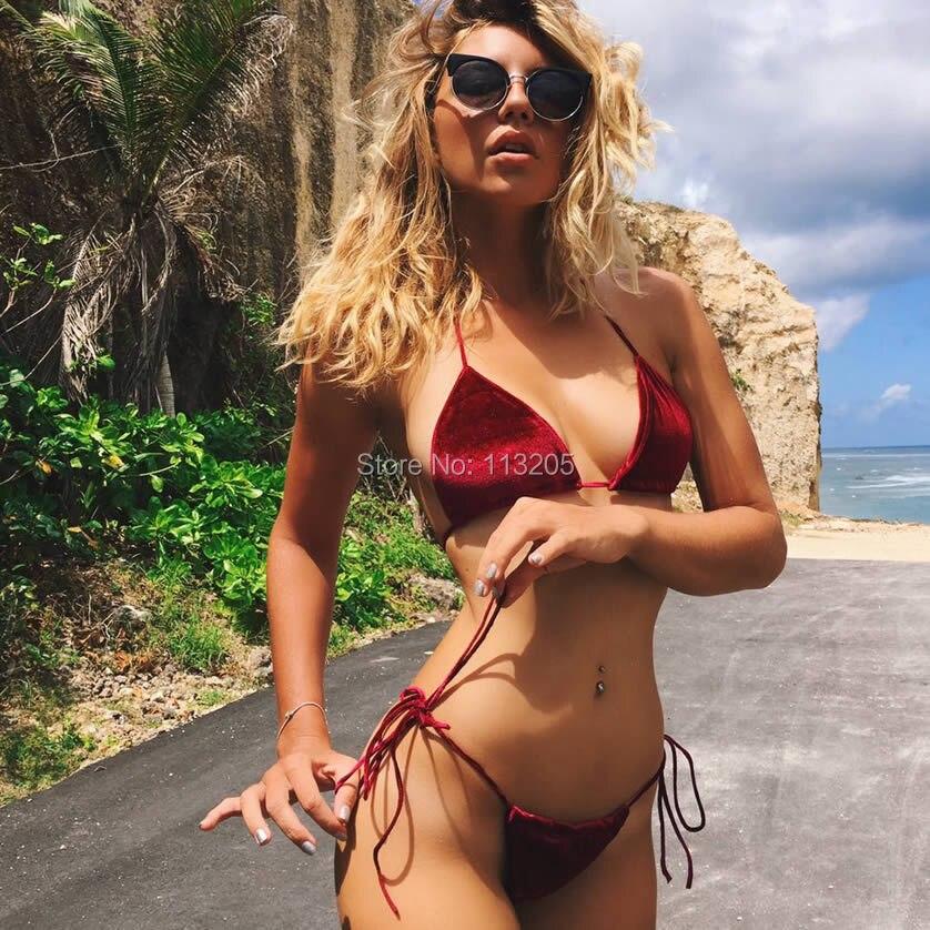 2017 Red/Blue Color Women Velour Bikini Set Micro Swimsuit Bandage Brazilian Triangle Swimwear Thong Plus Size XL Bathing suit<br><br>Aliexpress