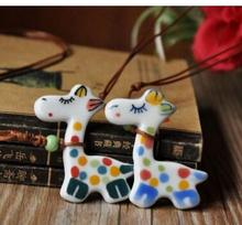 New arrival cute and lovely ceramic jewelry cute cartoon necklace pure hand-painted small giraffe