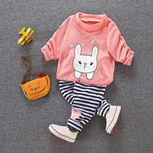 Children Clothes 2017 Winter baby Girls Clothes Set pink T-shirt+Pants Christmas Costumes For Kids Sport Suit Girl Clothing Set(China)