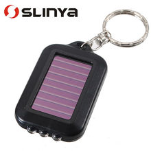100pcs/lot High Quality Mini Portable Solar Power Rechargeable 3 LED Flashlight Keychain Light Torch Ring Holder