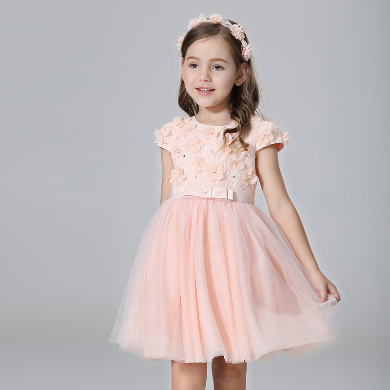Nimble Lace Flower Knee-Length clothes for girls Cute O-neck Ball Gown Orange-pink Princess Party girls clothes vestidos moana<br>