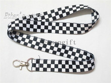 Black White Grid  Key Lanyard ID Badge Holders Checker Mobile Neck Straps for Party
