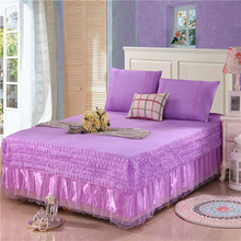 The rose bed skirt 3pcs bud silk bed sheet bedspreads twin full queen king size purple pink yellow supply